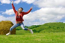 Free Beautiful Crazy Girl Jumping Royalty Free Stock Photo - 3208975