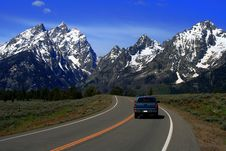 Free Road To The Teton S With Truck Stock Photo - 3209800