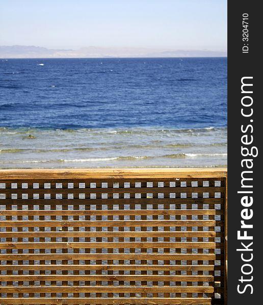 Wooden beach partition
