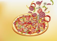 Free Pizza, Menu , Restaurant ,  Illustration Stock Photography - 32000522