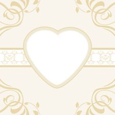 Free Heart On The Ornamental Background Stock Photography - 32003892