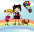 Free Two Funny Girls On Rainbow Stock Photos - 32011363