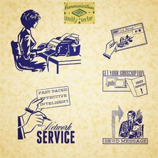 Free Vintage Communication Illustration Set Royalty Free Stock Photography - 32011387