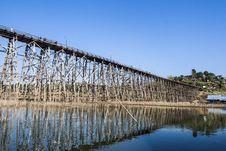 Wooden Bridge At Sangkhlaburi, Thailand Stock Photos