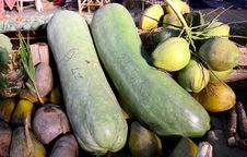 Free Giant Long Cucumber And Coconuts Royalty Free Stock Images - 32020509