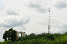 Telecommunication Antenna Tower Among The Ruins Royalty Free Stock Photo