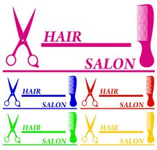 Free Set Colorful Hair Salon Symbols Stock Images - 32035334