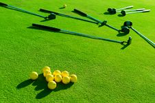 Free Iron Golf Club And Golf Ball On Green Grass Royalty Free Stock Image - 32047756