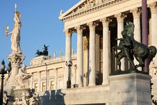 The Austrian Parliament In Vienna, Austria Royalty Free Stock Photo