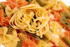 Different Pasta In Three Colors Royalty Free Stock Image