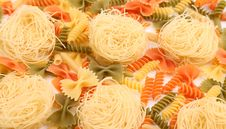 Different Pasta In Three Colors. Stock Images