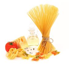 Free Different Pasta, Oil, Tomato, Cheese Royalty Free Stock Images - 32051699