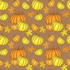 Free Vector Seamless Pattern With Pumpkins Royalty Free Stock Photo - 32054635