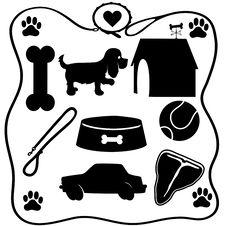 Free Dog Stuff Silhouettes Stock Photo - 32056340