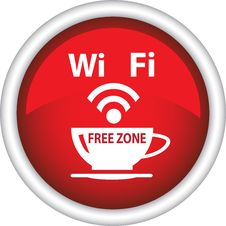 Free A Red Icon With The Image Of A Cup Of Coffee And Wi Fi Royalty Free Stock Photo - 32056515