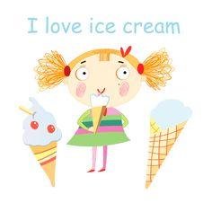 Free Girl With Ice Cream Stock Photo - 32068120