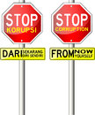 Free Traffic Sign, With Text Stop Corruption Stock Image - 32075481