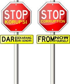 Traffic Sign, With Text Stop Corruption Stock Image