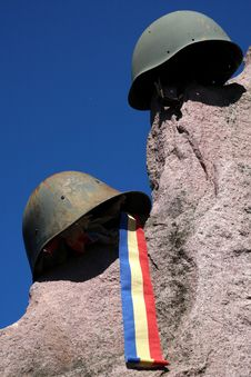 Monument Of Casualities Of World War II With German And Soviet Helmet
