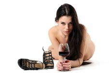 Woman With A Glass Of Red Wine Royalty Free Stock Images
