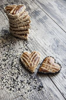 Free Cookies In The Shape Of Heart On The Table. Vertical Shot. Stock Photos - 32089763