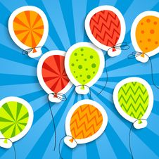Free Funny Postcard With Balloons Stock Images - 32099224