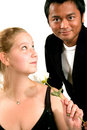 Free Man Gives Rose To Woman Royalty Free Stock Photography - 3213577