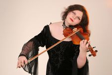 Girl With Violin Royalty Free Stock Photos