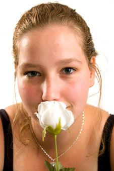 Free Young Woman Holds A Rose Royalty Free Stock Image - 3213566