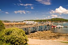 Maine Coastal Harbor And Wharf Royalty Free Stock Images
