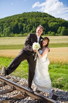 Balancing On Rails Royalty Free Stock Photo