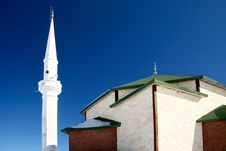 Mosque And White Minaret Stock Photo
