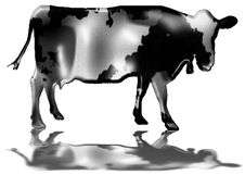 Free Black And White Cow With Bell Royalty Free Stock Photography - 3218917
