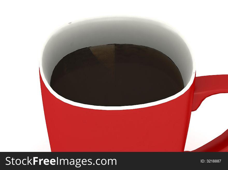 Close up on filled coffee mug