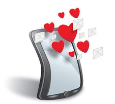 Free Smartphone With Cloud Of Sms Simbols And Hearts Royalty Free Stock Images - 32103479
