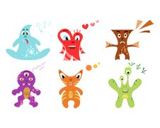 Free Cute Colorful Monster Set Royalty Free Stock Photos - 32103978