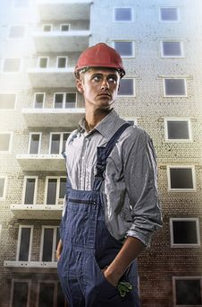 Worker At A Construction Site Stock Image