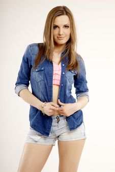 Free Beautiful And Attractive Female Woman Posing In Blue Jeans Dress Royalty Free Stock Photo - 32108505