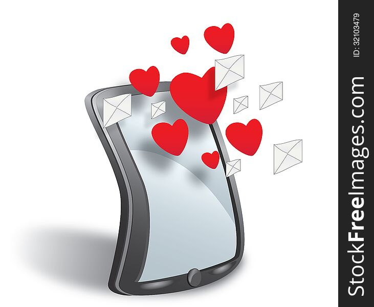 Smartphone with cloud of sms simbols and hearts