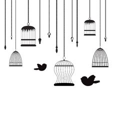 Birds And Birdcages Royalty Free Stock Photos