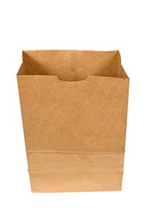 Brown Bag Opened Isolated On White Royalty Free Stock Photography