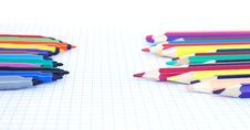 Felt Pens And Pencils  Opposite Each Other Stock Images