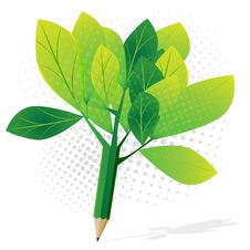 Free Abstract Green Tree Pencil Royalty Free Stock Photo - 32137235