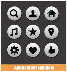 Free Application Pictogram Symbols Set Silver Color Stock Photos - 32139453