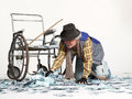 Free Homeless Man With A Lot Of Money Royalty Free Stock Photography - 32140367