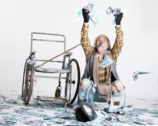Homeless Man With A Lot Of Money Stock Photography