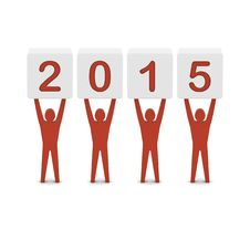 Men Holding The 2015 Year. Stock Photo