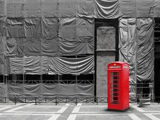 Free Red Telephone Booth Canvas Background Royalty Free Stock Images - 32151539
