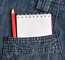 Free Notebook And Pencil In Jeans Pocket Royalty Free Stock Photos - 32154708