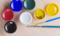 Free Brush And Many Paint Jars Royalty Free Stock Images - 32169719